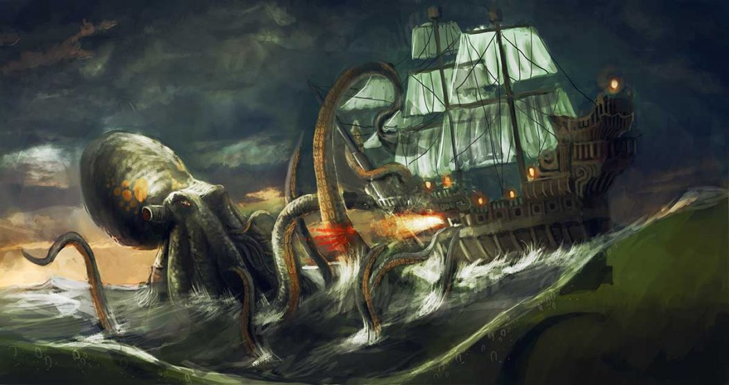 the cracken According to the scandinavian mythology, the kraken is a giant sea creature (said to be 1 mile long) that attacks ships and is generally described as an octopus or squid.